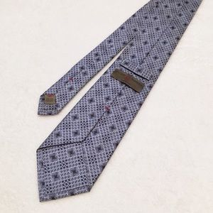 New Luciano Barbers Woven Silk Tie Blue